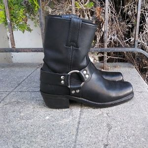 Frye Womens Size 7 Moto Harness Black Leather West